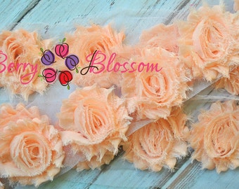 "2.5"" Baby Peach shabby flower trim - frayed chiffon - rose flowers by the yard - CX Light C"