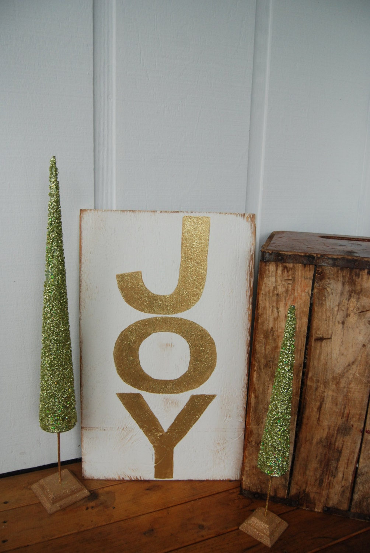 Large Joy Hand Painted Wood Christmas Sign White Amp Gold