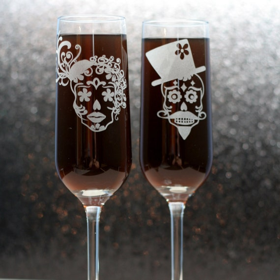 Wedding Flutes Sugar Skull Couple champagne flutes (set of 2) wedding glasses, wedding flutes, ne								<a href=