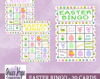 Printable Easter Bingo & Memory Game - Instant Download - 20 Bingo Cards, 18 Calling Cards, 18 Memory Card Pairs, 5 Backgrounds - 2 Sizes