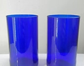 Handcrafted Upcycled Beautiful Cobalt Blue Beer Bottle Drinking Glasses Set
