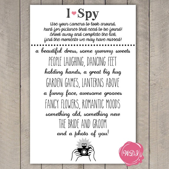Wedding I Spy Game - Printable Wedding Favour - Reception Games - Instant  Download