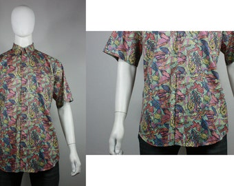 Vintage Mens 90's Abstract Short Sleeve Neon Large X-Large Worms