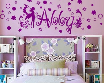 Personalized Name With Fairy, Stars, Circles & Flowers Wall Decal sticker nursery art baby kids room decor child custom  FA19