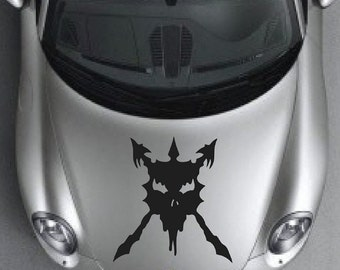 Skull Devil Demon Decal sticker wall art car graphics room decor medieval sca armour knight zombie emo goth gothic metal AA59