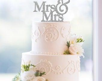 Glitter Mrs & Mrs Same Sex Cake Topper – Custom Wedding Cake Topper Available in 6 Glitter Options- (T003)