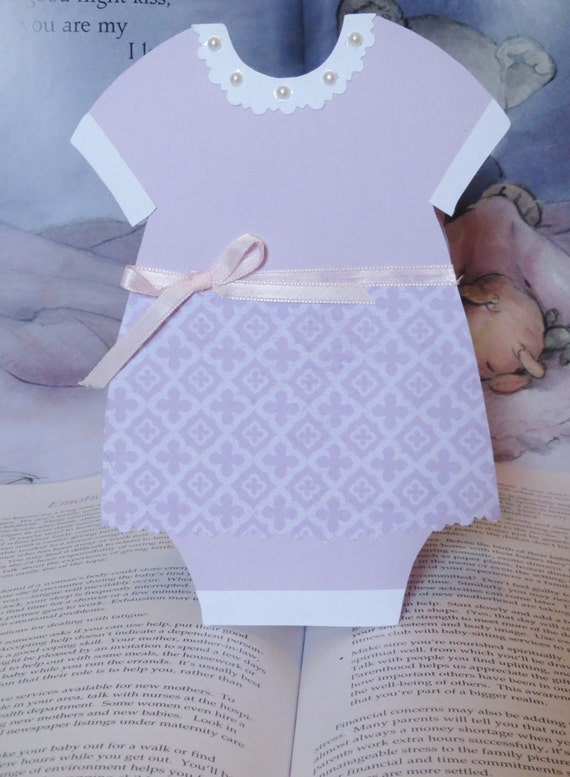 Baby Shower Baby Girl Onesie Shaped Purple Skirt Invitation