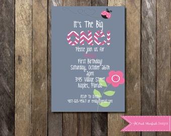 Ladybug Invitation, First Birthday Invitation, 1st Birthday Invitation, Pink and Grey Invitation, Digital Printable Invitation, The Big One