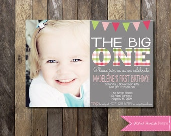 PRINTABLE  First Birthday Invitation With Picture - 1st Birthday Invitation Fully Customizable -  Girls Boys Birthday Party 4x6 or 5x7