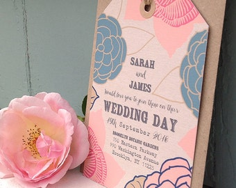 Floral Wedding Invitation Set, Luggage Tag, Wedding Stationery, Outdoor Wedding, Modern Wedding, Garden Wedding, Floral Stationery {DEPOSIT}