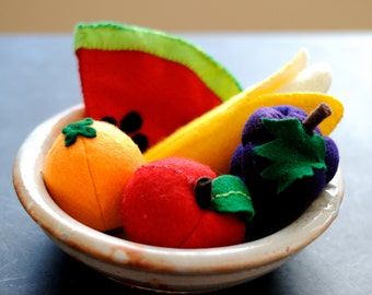 Felt Fruit Set (Watermelon, Grapes, Apple, Orange, Banana)