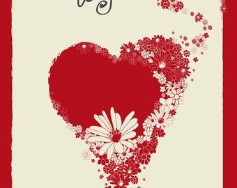 "Valentine's Day printable card - 4""x6"""