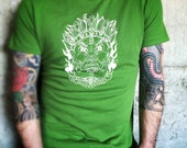Mahakala - Tibetan Guardian Mask on Men's Green Organic Cotton T-Shirt - Ladyfish & Rye