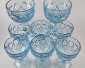 Fostoria Moonstone In Fine Glassware Set of 8, Blue Cut Glass Goblets four Pedestal Goblets, Water Glasses, Wine Glasses, Sherbet, Excellent