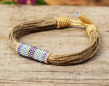 Artisan beadwork linen bracelet for women Natural Designer Jewelry Blue Yellow Raw strings High quality materials Natural girlfriend gift