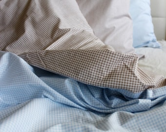 twin twin xl duvet cover full set blue and brown gingham cotton quilt cover with
