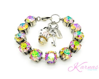 SHIMMERING WATER LILY 47ss Chaton Crystal Bracelet Made With Swarovski Elements *Pick Your Finish *Karnas Design Studio *Free Shipping*