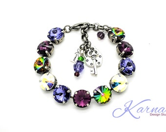 VIOLACEOUS 12mm Crystal Rivoli Bracelet Made With Swarovski Elements *Pick Your Finish *Karnas Design Studio *Free Shipping*