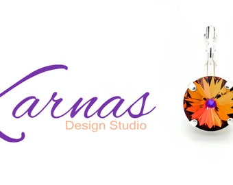 CRYSTAL VOLCANO 12mm Crystal Rivoli Drop Earrings Made With Swarovski Elements *Pick Your Metal *Karnas Design Studio *Free Shipping*