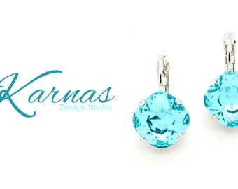 LIGHT TURQUOISE 12mm Crystal Cushion Cut Drop Earrings Made With Swarovski Elements *Pick Your Setting *Karnas Design Studio *Free Shipping*