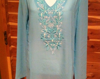 Women's swim cover up in sea green georgette with embroidery