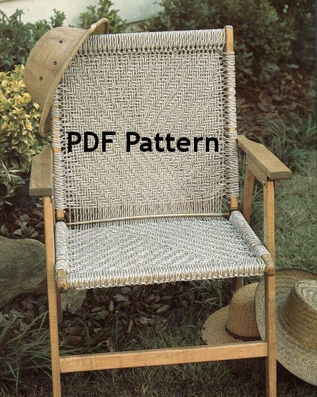 macrame chair pattern vintage 1980 39 s herringbone design