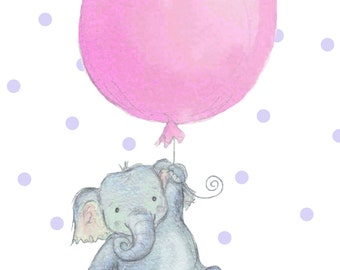 Elephant with pink or blue balloon illustration for baby A5 digital print