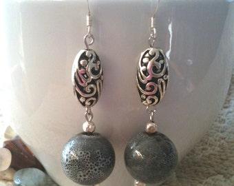 Blue Speckle Stone Filigree Design Dangle Earrings
