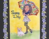 Sunny Day Girl with French Bulldog   Children's room art  Handmade item 11 x 14 - carolannieArt