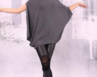 Asymmetrical graphite gray tunic top, loose tunic - UM-003-VL