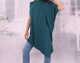 Asymmetrical green tunic top with short sleeves, loose tunic, tunic top - UM-041-VL