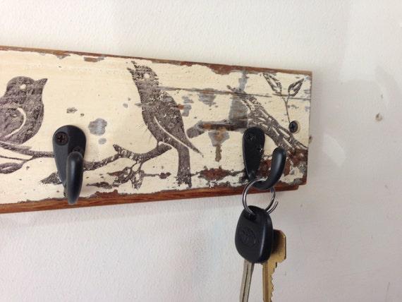 Reclaimed Wood Coat Or Key Hook Rack With Vintage Bird Graphic