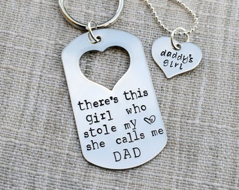 Father & Daughter Key Chain And Necklace Set - There's this girl who stole my heart she calls me DAD - Daddy's Girl - Heart