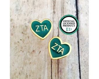 Zeta Tau Alpha Enamel Heart Stud Earrings | Sorority Earrings | Zeta Tau Alpha Earrings | ZTA Earrings | Enamel Earrings | Zeta Earrings