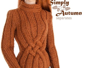 Knitting pattern for 16 inch fashion dolls: Cable Motif Sweater