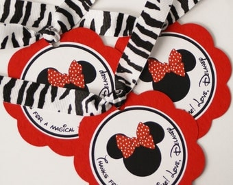 Minnie Inspired Favor Tags - Red/Zebra Print