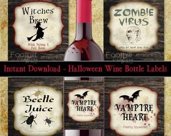 Halloween wine label | Etsy