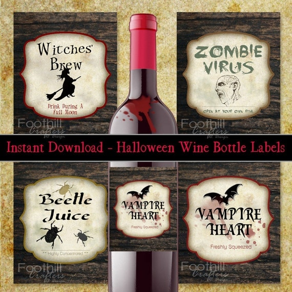 halloween, bottle, labels