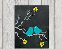 Blue Bird decor Bird art Bird printable Aqua Love birds print Chalkboard art Turquoise yellow Black Grey Digital Home decor INSTANT DOWNLOAD