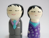 wooden doll, Kokeshi, Japanese couple, hand painted, large size, ready to ship, Valentine's Day, Gift ideas - MyNihonjin