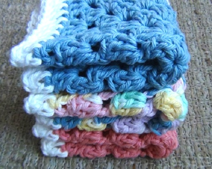 """Cotton Dishcloths - Set of 3 - Pure Cotton Hand Crocheted 8"""" Dish Cloths Wash Cloths - Spring Mix - Pastel Face Cloth"""