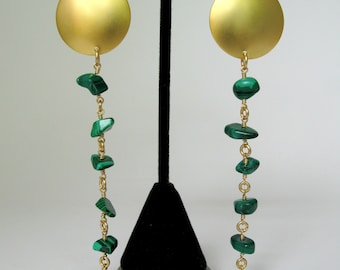 Green Malachite Dangle Earrings