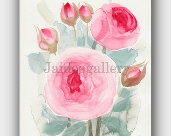 Watercolor art 6x8 in,Painting on paper, Original watercolor painting.Flower art, Floral rose painting,
