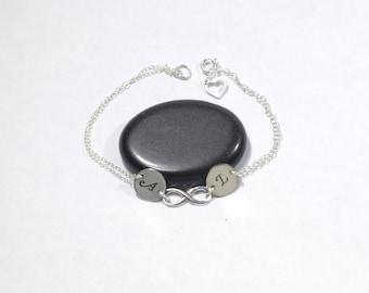 Infinity friendship bracelet Silver infinity bracelet Personalized Jewelry Custom bracelet Infinity charm bracelet Hand stamped jewelry