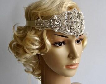 Crystal Rhinestone & Pearls  flapper Gatsby Headband, Wedding Headband, Wedding Headpiece, Halo Bridal Headpiece, 1920s Flapper headband