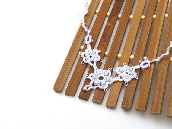 Handmade tatted necklace white with white plastic pearl beads bridal wedding jewelry