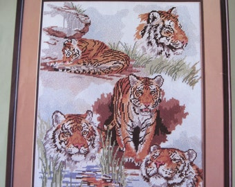 "Needlepoint Kit - Tiger Collage - Candamar Designs #30579 - 14"" x 18"""