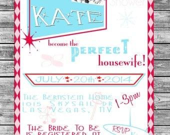 Retro Housewife Bridal Shower Invite