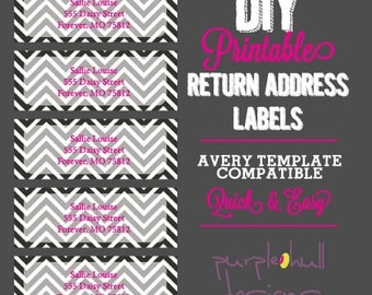 Chevron Return Address Labels Black and White Pink, Avery Template DIY ...