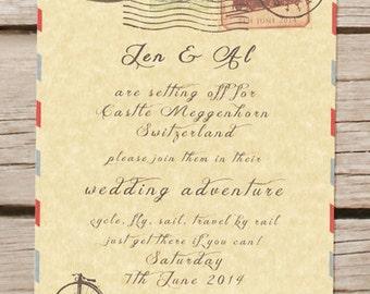 travel theme wedding invitation passport vintage destination wedding - Travel Themed Wedding Invitations